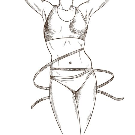 Slim woman body with measuring tape, hand drawn  イラスト・ベクター素材
