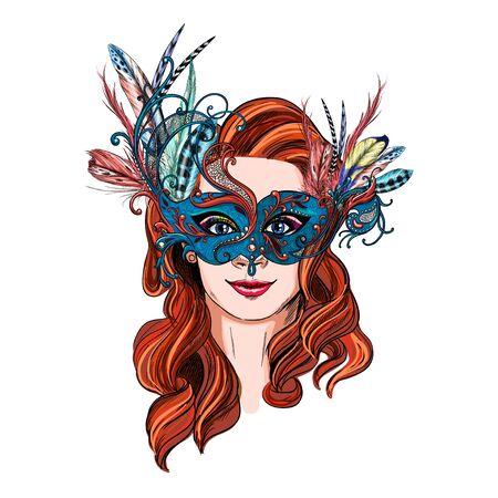 Mujer sonriente en plumas y máscara de carnaval de lujo