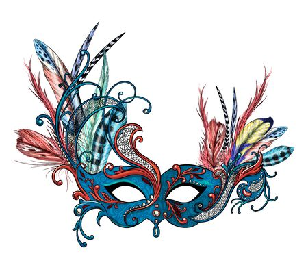 Luxury carnival mask with feathers, full color hand drawn Ilustración de vector