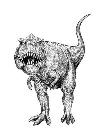 T-rex, grafika z czarnym tuszem, ręcznie rysowane