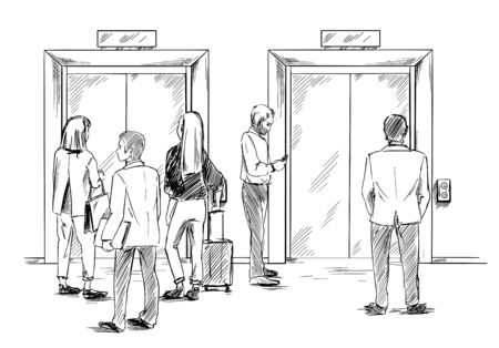 Group of people are waiting for the elevator, hand drawn vector illustration, sketch Stock Illustratie