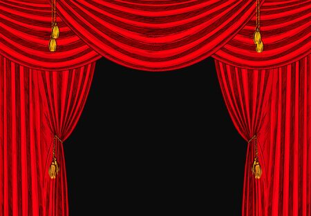 red velvet drapes with gold tassels, black background, hand drawn vector illustration.