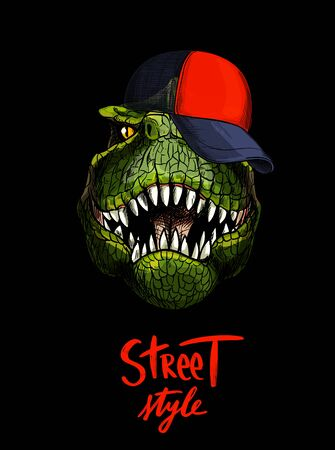 T-rex in red cap, hand written STREET STYLE below, full color skecth, hand drawn vector illustration