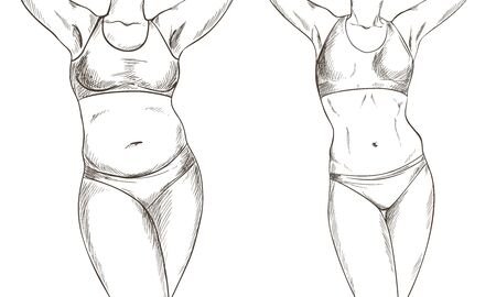 Before after collage with female body, weight loss, hand drawn vector illustration, sketch