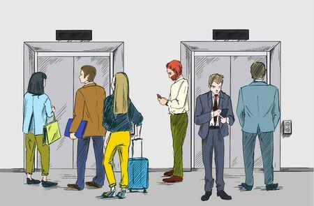Grupa ludzi czeka na windę