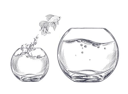 Small goldfish jumping from one fishbowl to other Foto de archivo - 136797991