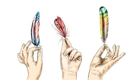 Set of three hands holding bird feathers, hand drawn vector illustration