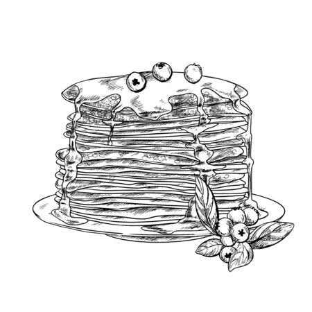 The stack of pancakes with honey and blueberries, hand drawn vector illustration