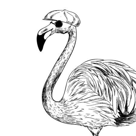 Familiar flamingo in cap and black sunglasses