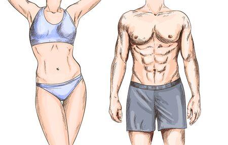 Couple athlétique, jeune homme et femme, couleur