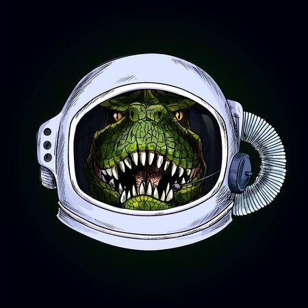 T-Rex head in space helmet on black bg