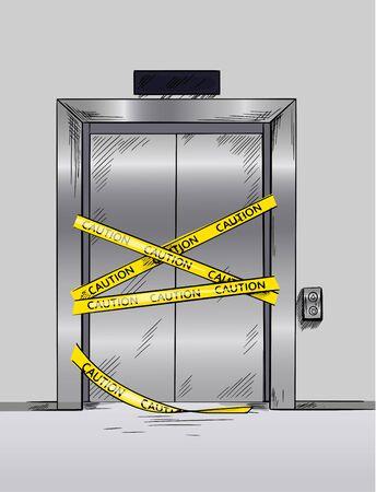 Broken elevator closed for repair, hand drawn vector illustration Stock Illustratie