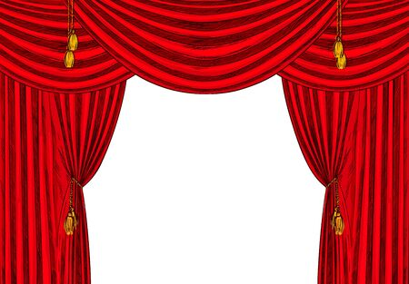 Red velvet drapes with gold tassels, white background, hand drawn vector illustration.