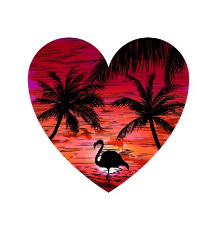 Heart shape with beach, sunset, flamingo and palms, pink tint, hand drawn vector illustration