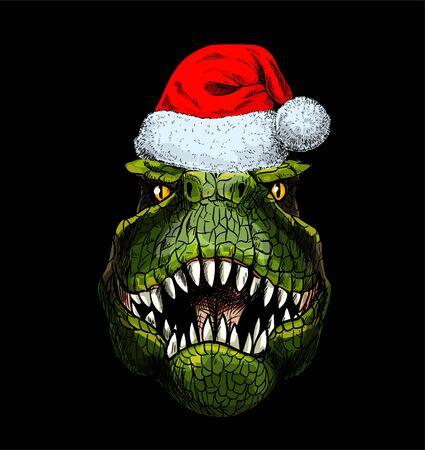 Portrait of T-Rex in red santa hat on black background, full color sketch, hand drawn vector illustration