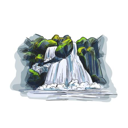 Color sketch, waterfall between stones, hand drawn