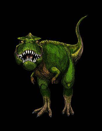 Tyrannosaurus Rex, boceto a todo color, dibujado a mano Ilustración de vector