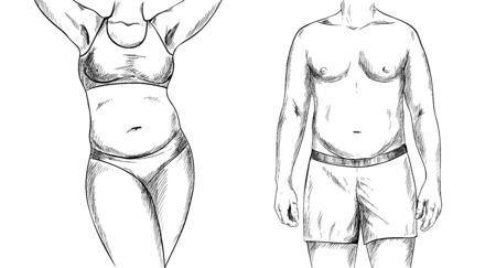 Overweight couple, man and woman torso, black sketch, hand drawn vector illustration Çizim