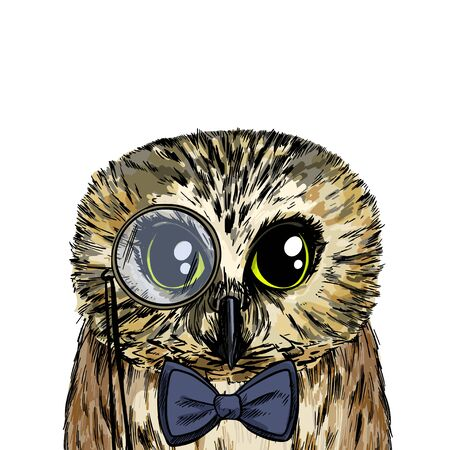 Cute smart owl with bow tie and monocle, full color sketch, hand drawn vector illustration