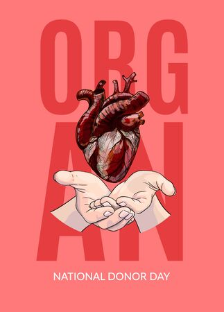 Human heart in hands, organ donor day poster