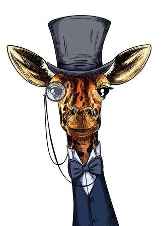 Elegant giraffe dressed in suit, monocle and hat