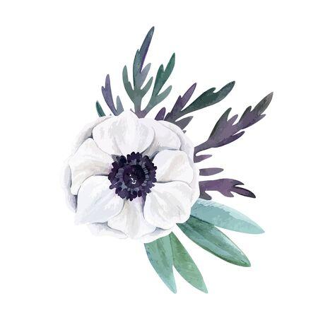 Watercolor floral arrangement, hand drawn vector image