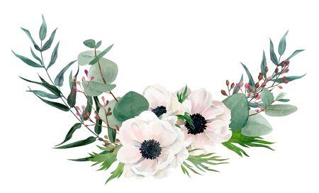Watercolor floral arrangement, hand drawn vector image Vector Illustratie