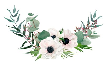 Watercolor floral arrangement, hand drawn vector image Ilustração Vetorial