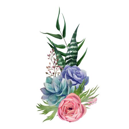 Watercolor floral arrangement, hand drawn vector watercolor illustration. Design element for cards and invitation.