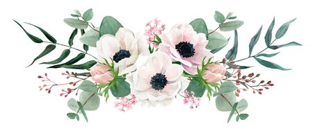 White anemones and greenery, Watercolor floral arrangement, hand drawn vector watercolor illustration. Design element for cards and invitation. Vetores