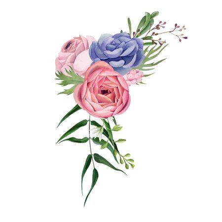 Corner vigniette, Watercolor floral arrangement, hand drawn vector watercolor illustration. Design element for cards and invitation.
