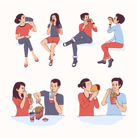 Young people eating fast food including pizza Vektoros illusztráció