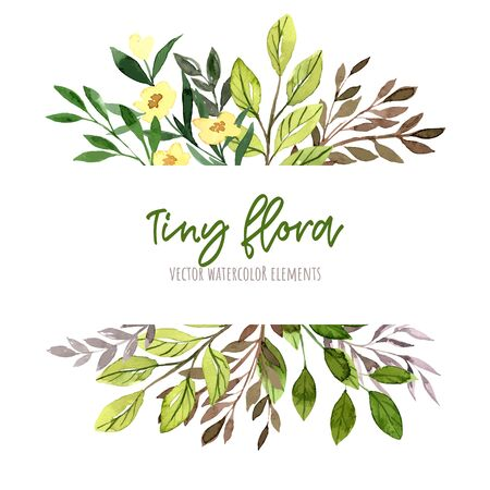 Green leaves and branches with yellow flowers. Watercolor tiny floral elements, stripe banner, hand drawn vector illustration. Ilustração