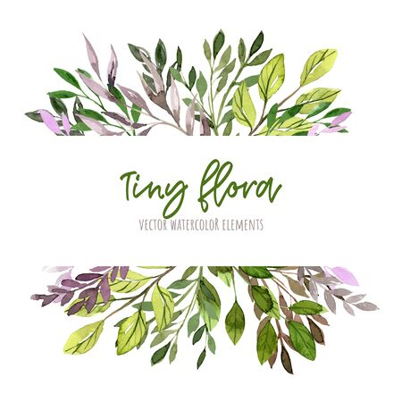 Green and purple leaves and branches. Watercolor tiny floral elements, stripe banner, hand drawn vector illustration. Ilustração