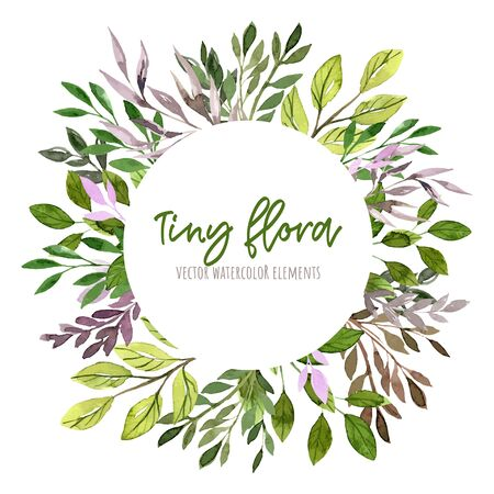 Green and purple leaves and branches, Round banner, watercolor tiny floral elements around. Hand drawn vector illustration, design template.