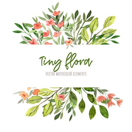 Green leaves and branches with red flowers. Watercolor tiny floral elements, stripe banner, hand drawn vector illustration.
