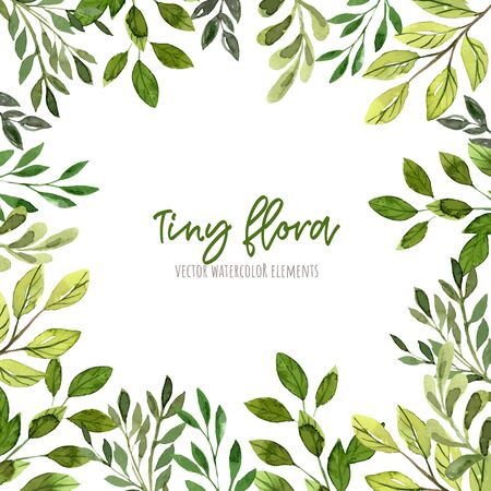 Square border frame, green leaves and branches, wet watercolor design elements, hand drawn vector illustration.