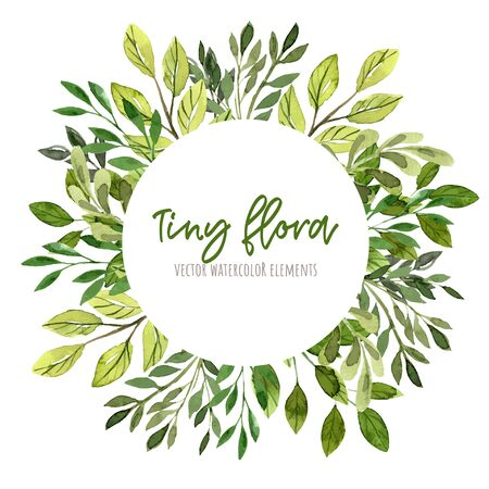 Green leaves and branches, Round banner, watercolor tiny floral elements around. Hand drawn vector illustration, design template. Ilustração