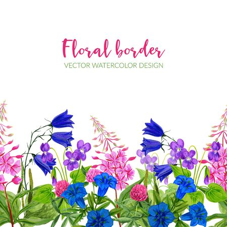 Watercolor seamless border, pink and blue flowers