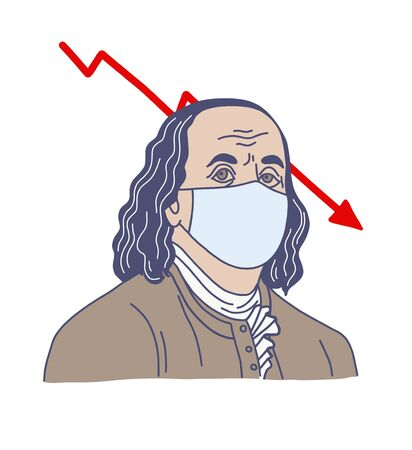 man in medical mask, hand drawn vector