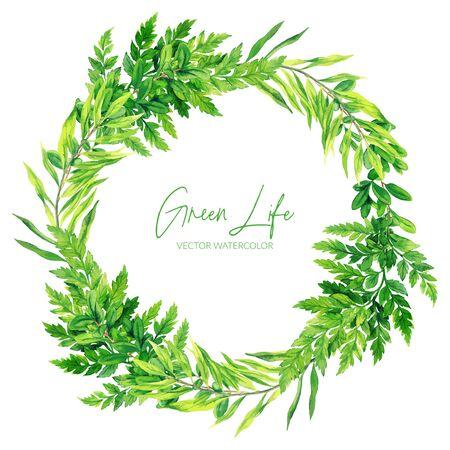 Green watercolor ferns wreath, hand drawn vector illustration, design template.