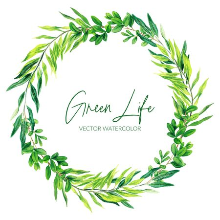 Green watercolor leaves and branches wreath, hand drawn vector illustration, design template. Vector Illustratie