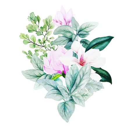 Magnolia and leaves, bright watercolor bouquet with fern and lamb ears, hand drawn vector illustration