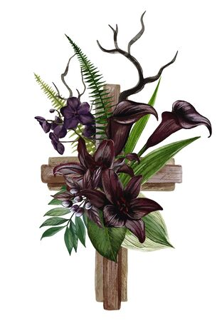 Christian wooden cross decorated with black lilies and callas