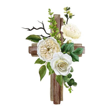 Christian wooden cross decorated with white roses and leaves, hand drawn watercolor illustration