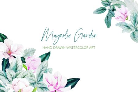 Watercolor herbs and flowers, bright colors, corner frame Banque d'images