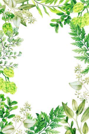 Vertical floral watercolor frame, hand drawn illustration Banque d'images