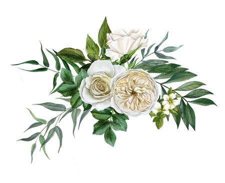 White flowers bouquet, roses and leaves, hand drawn watercolor Zdjęcie Seryjne
