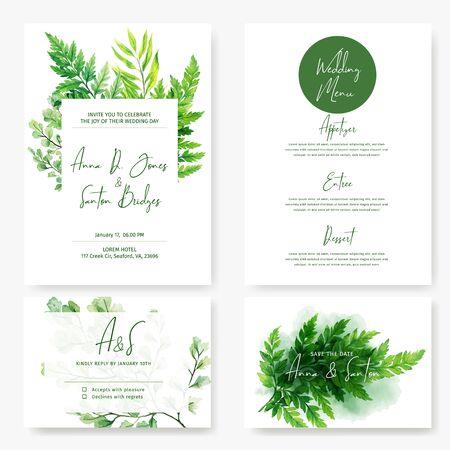 Wedding cards kit, wild watercolor green ferns