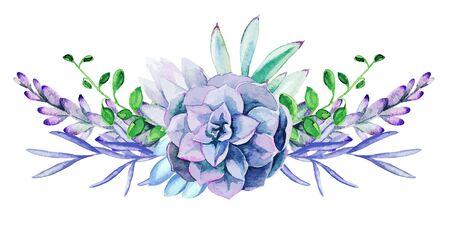 Bright watercolor plants, the tiny color bouquet Vector Illustration